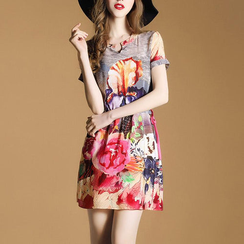 Silk Floral Print V-Neck Slim Shift Dress