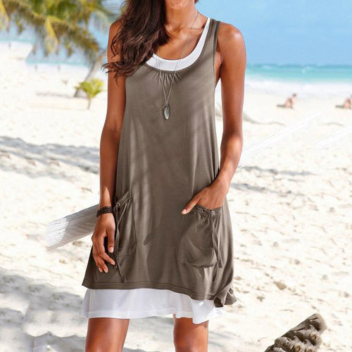 Round Neck  Drawstring  Shift Dress