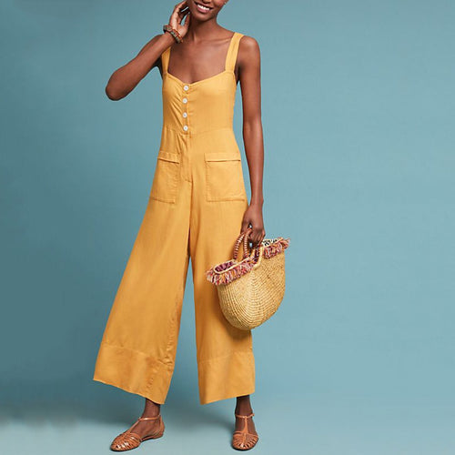 Sexy Solid Color Wide Leg Jumpsuit