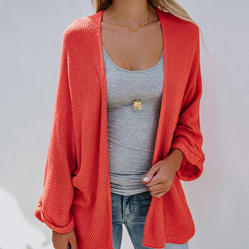 Mid-Length Bat Sleeve Thin Knit Cardigan