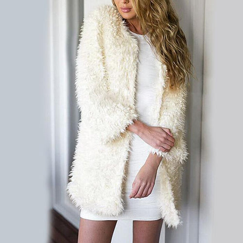 Fashionable Fake Fur Thicken Warm Cardigan