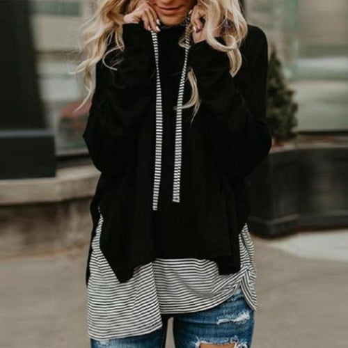 Long Sleeves Striped Stitching Hoodie