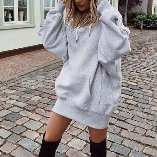 Hooded Long Sleeve Pocket Loose Plain Casual Hoodies