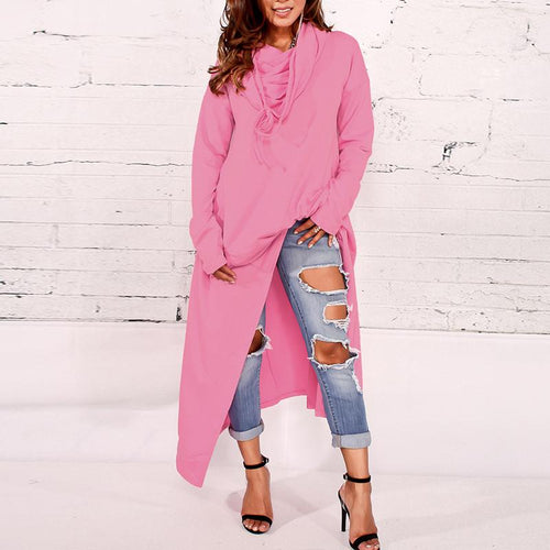 Hooded Loose Plain Asymmetrical Hem Hoodies