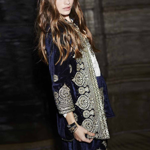 Fashion Printed Long   Sleeve Coat