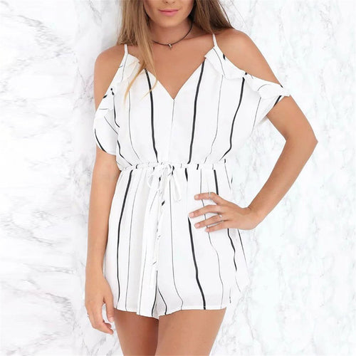 Sexy V Collar Loose Striped Wide Leg Rompers