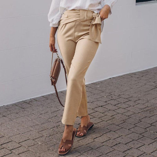 Fashion High-Waist Pure Colour Belted Suit Pants