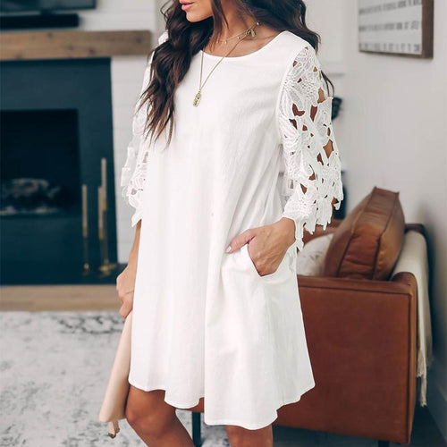 Casual Round Neck Lace Sleeve Loose Casual Dresses