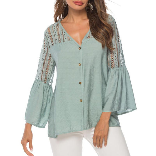 Casual Hollow Out Lace V Neck Shirt