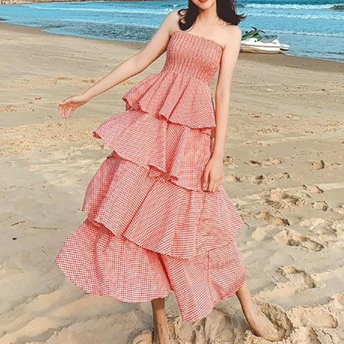 Fashion Ruffled Off-Shoulder Check Maxi Dresses
