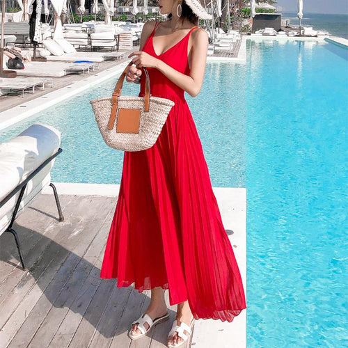 Elegant High-Waist Pure Colour Pleated Sling Maxi Dresses