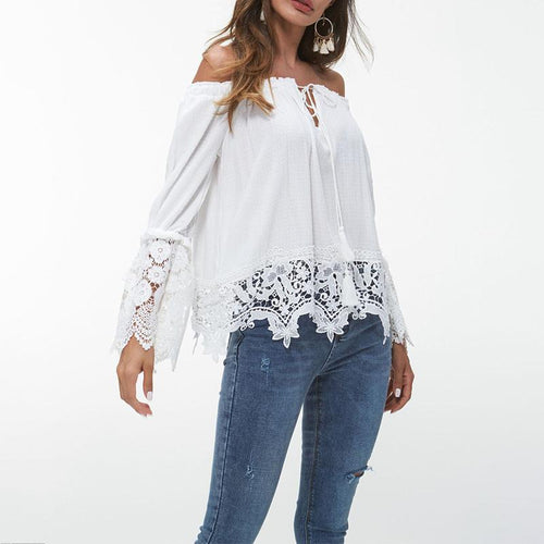 Sexy Boat Neck Irregular Belted Lace Shirt