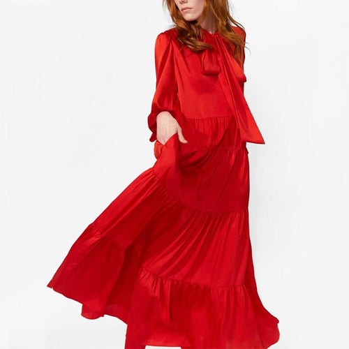Modern Ruffled Pure Colour Bow Belted Maxi Dresses