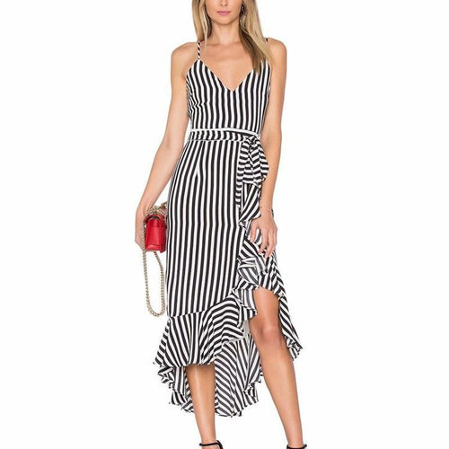 Casual Striped Ruffled Sling Off-Shoulder Maxi Dresses
