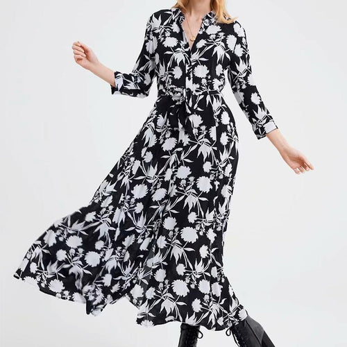 Fashion Flower Printed Colour Belted Maxi Dresses