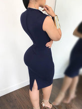 Load image into Gallery viewer, Sexy Stand Collar Sleeveless Pure Colour Bodycon Dresses