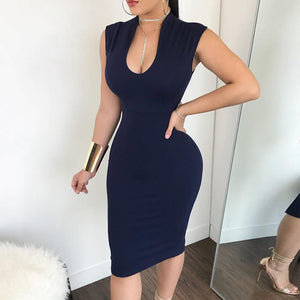 Sexy Stand Collar Sleeveless Pure Colour Bodycon Dresses