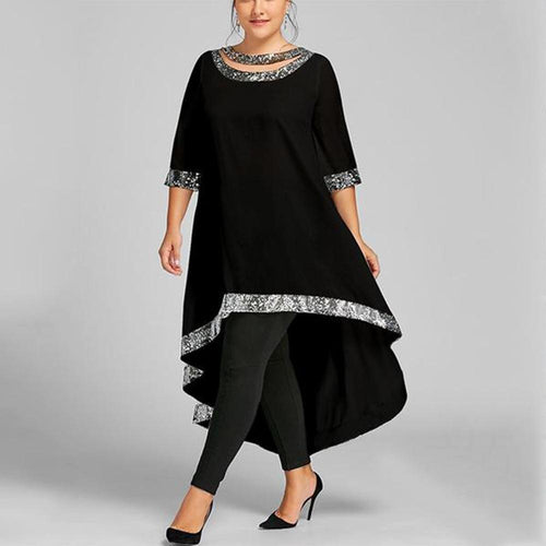 Plus-Size Loose Splicing Bright Silk Dress