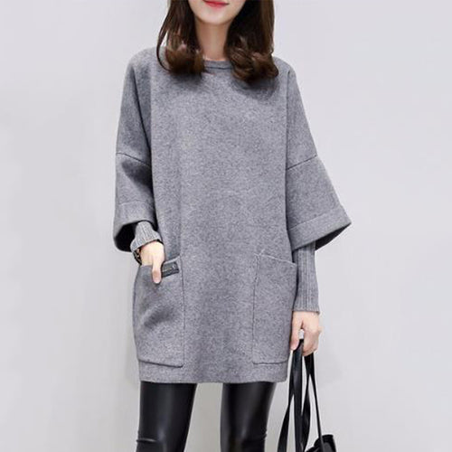 Round Neck Patch Pocket Plain Fake Two-Piece Shift Casual Dresses