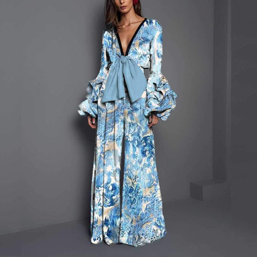 Sexy V Collar   Long-Sleeved Print Waist Trousers Jumpsuit