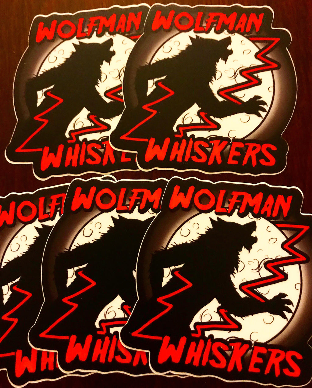 Wolfman Whiskers Lightning Moon Sticker