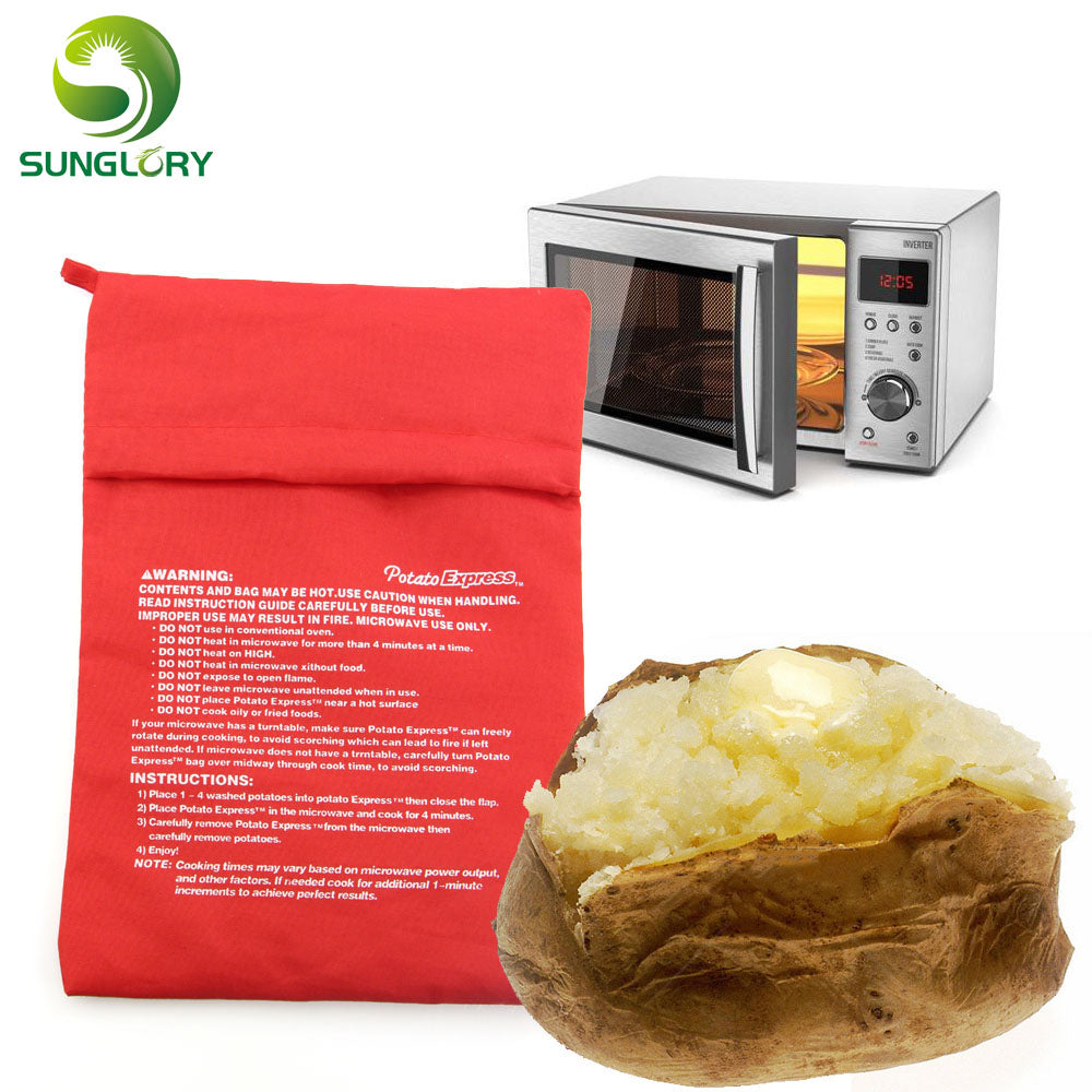 Red Microwave Potato Bag Baking Potato Cooking Bag Washable Cooker Bag Baked Potatoes Rice Pocket Oven Quick Fast Kitchen Tools