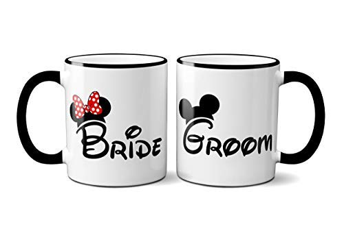 Mickey and Minnie Bride and Groom Mugs