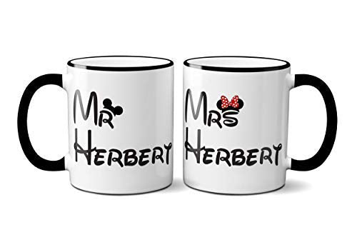 Personalised  Mickey Minnie, Mr and Mrs Mugs