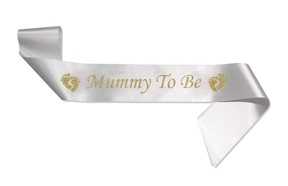 HerbyDesigns Deluxe Mummy To Be Sash - White Sash with Gold Glitter