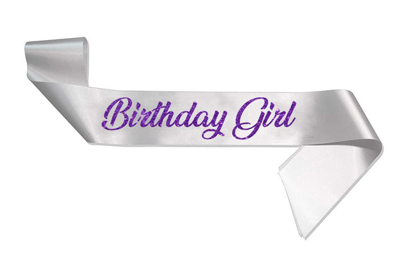 HerbyDesigns Deluxe Birthday Girl Glitter Sash White / Purple 18th 21st Birthday Party