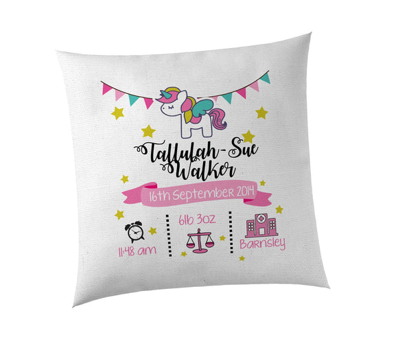 Personalised Birth/Christening Cushion Covers. Boy & Girl Designs, Perfect for the newborn in your family or circle of friends.
