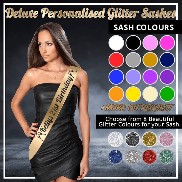 Deluxe Personalised Glitter Sash, Perfect for Birthday Party, Stag and Hen Parties