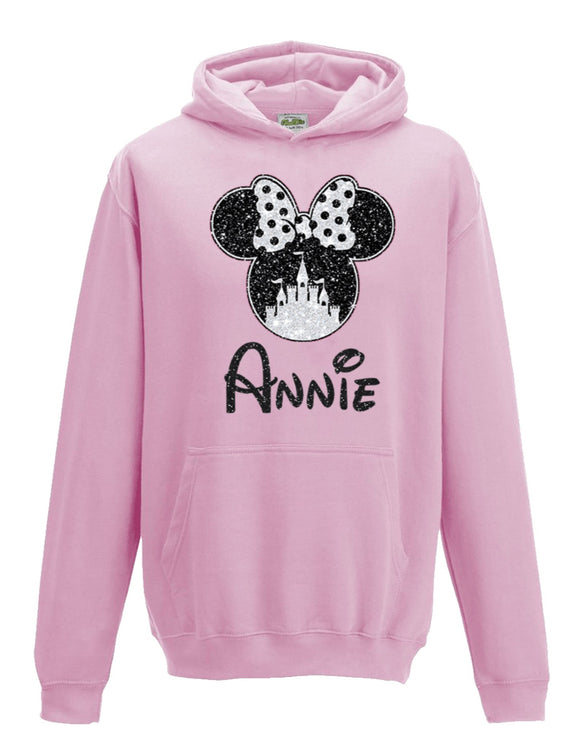 Glitter Minnie Castle Personalised Hoodie