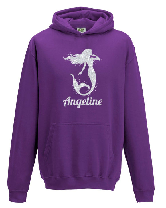 Personalised Girls Mermaid Glitter Hoodie
