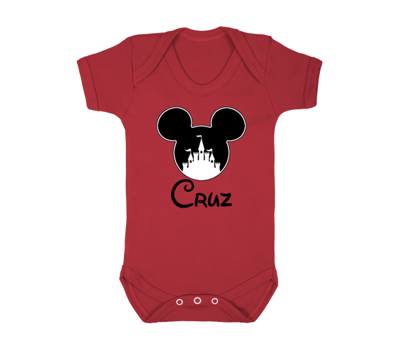 Boys Mickey Castle Baby Vest Personalised with Name