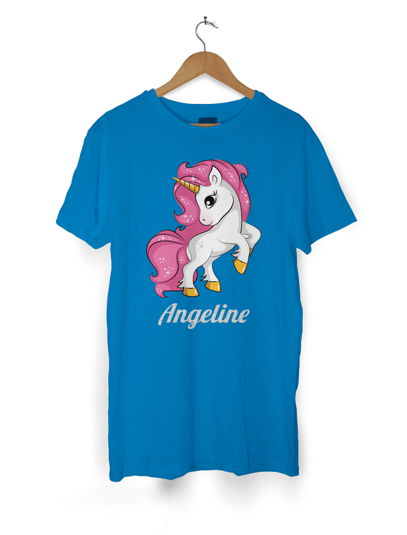 HerbyDesigns Girls Personalised Unicorn T-Shirt with Glittery Personalised Name