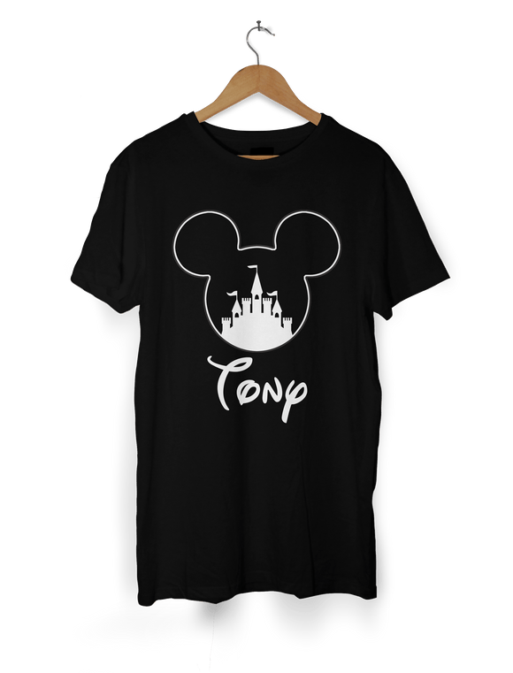 Boys Mickey Castle T-Shirt Personalised with Name