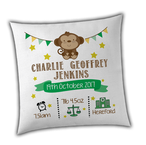 Personalised Boy Monkey Birth / Christening Cushion Cover - Unique Gift