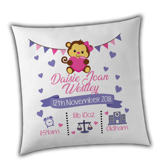 Personalised Girl Monkey Birth / Christening Cushion Cover - Unique Gift