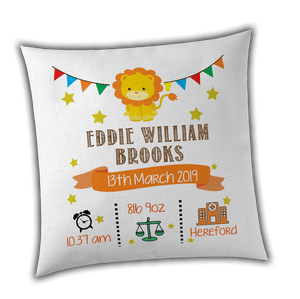 Personalised Lion Birth / Christening Cushion Cover - Unique Gift