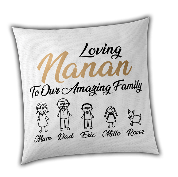 HerbyDesigns Personalised Stick Family Cushion Cover - Unique Gift - Perfect for Mothers Day, Birthday and Christmas - Luxury one off item