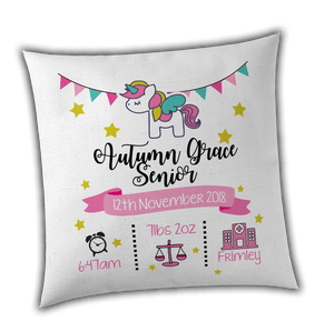 Personalised Unicorn Birth / Christening Cushion Cover - Unique Gift