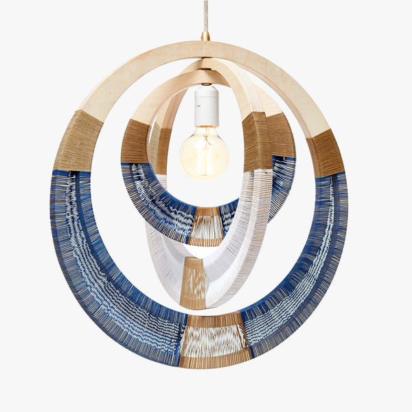African Woven Necklace Lampshade - Blue