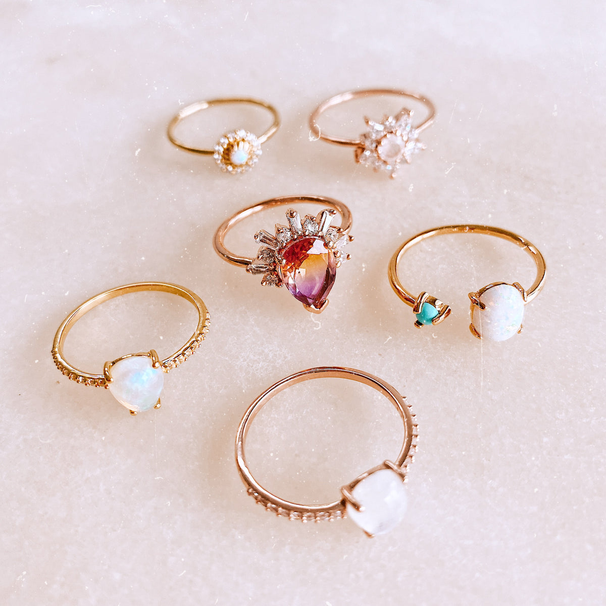 Rose Gold Rainbow Moonstone and Topaz Angels Teardrop Ring
