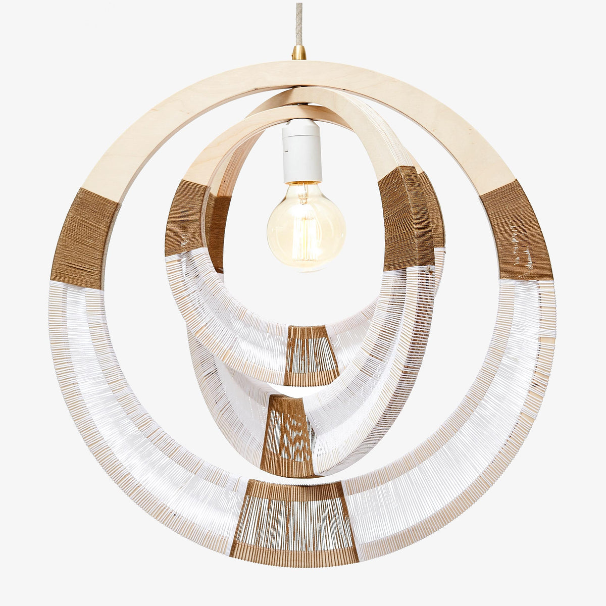 African Woven Necklace Lampshade - White