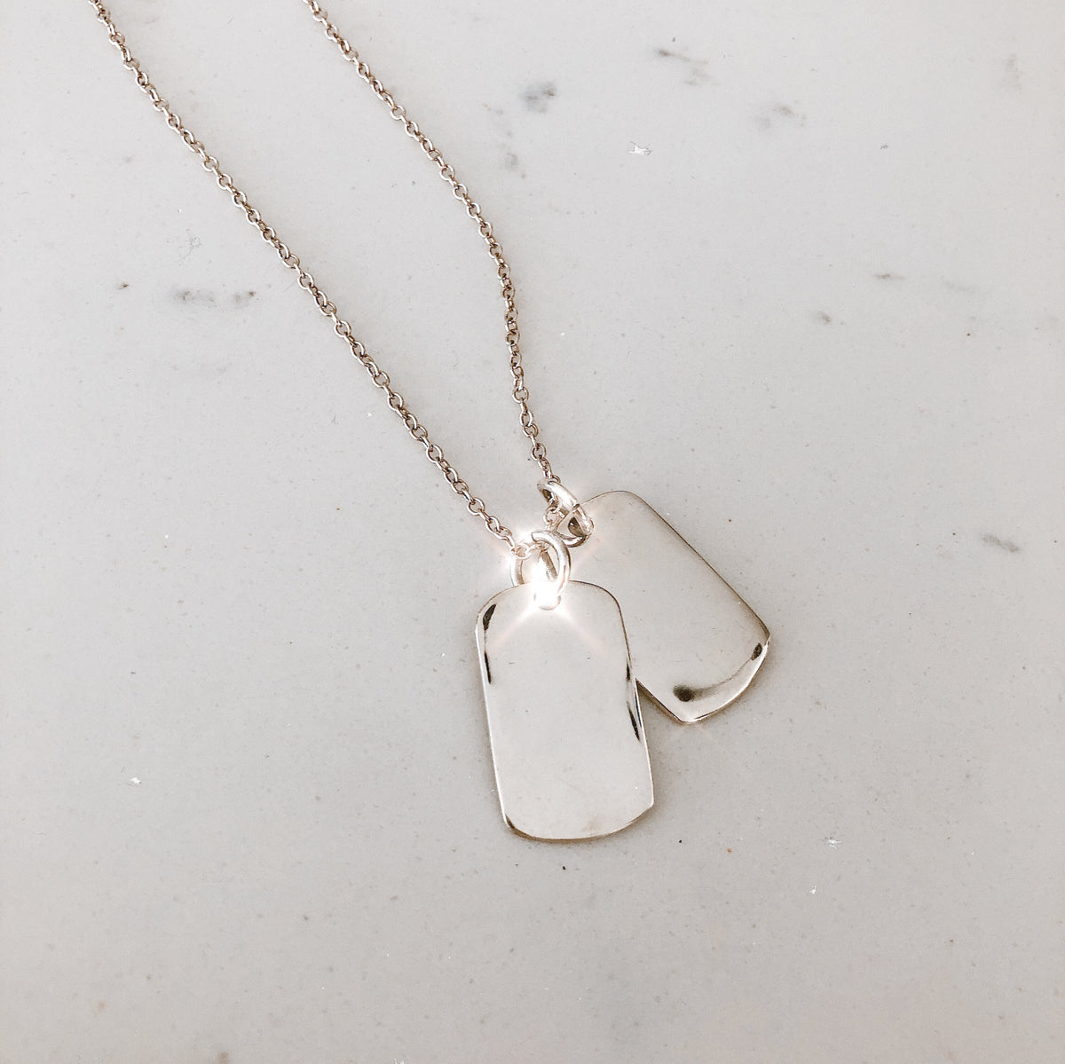 The Silver Double ID Tag Necklace