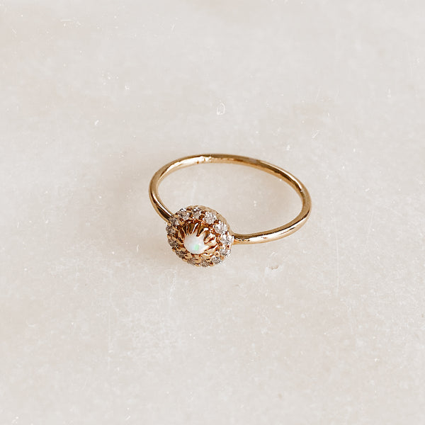 Gold Opal and Diamond Parisian Bloom Ring