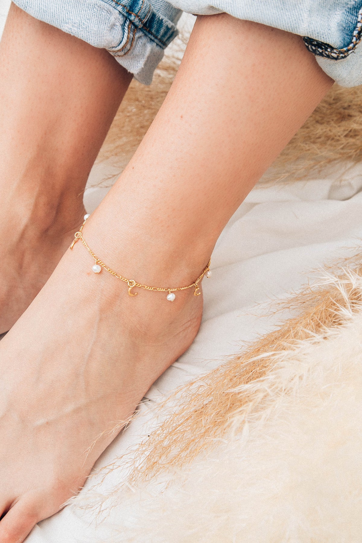 Moon & Pearl Anklet by KBT