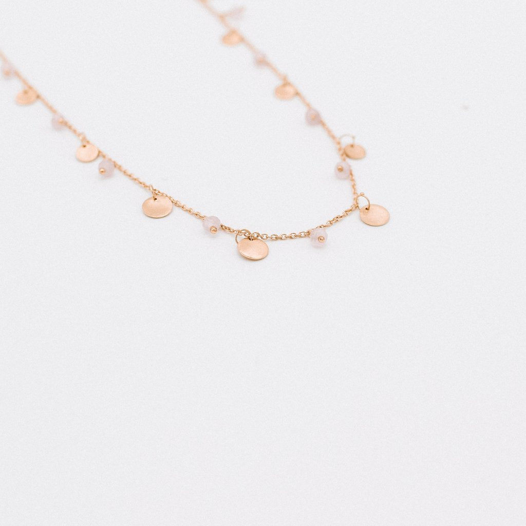 Frankie Necklace in Rose Chelsodony
