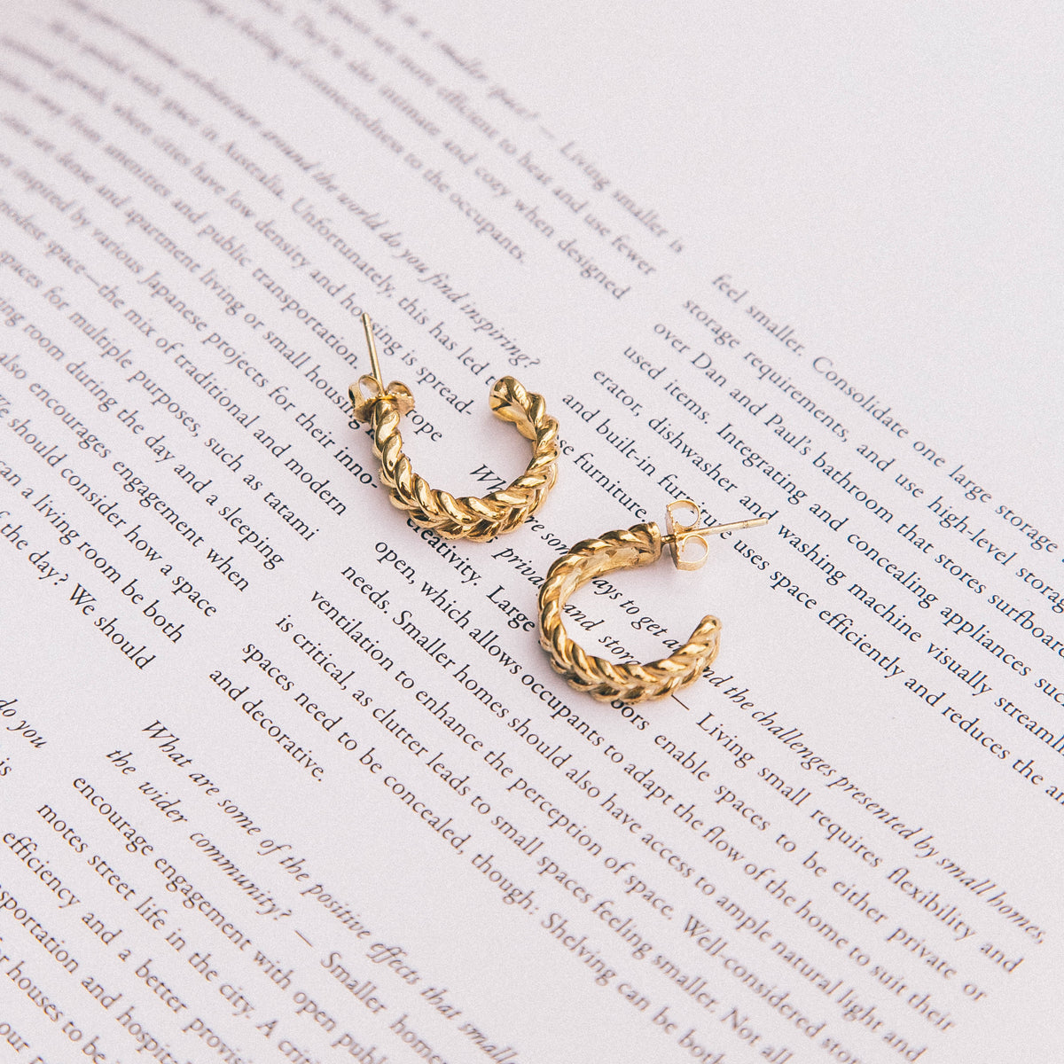 Large Gold Chunky Weave Earring
